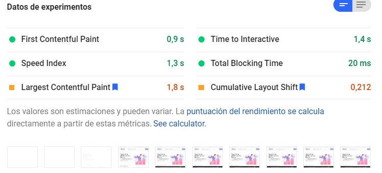 Ejemplo de test en Google Page Speed.